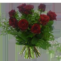 Röda rosor och grönt