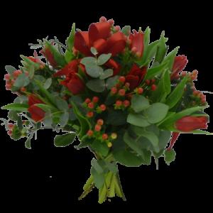 Julbukett med röda tulpaner