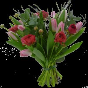 Söt julbukett med rosa tulpaner