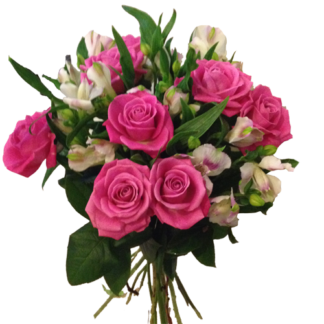 rosa-rosor-och-rosa-alstromeria bukett