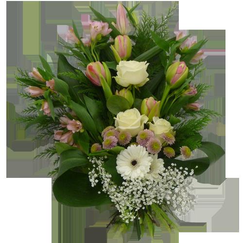 Elegant begravningsbukett i rosa och vitt