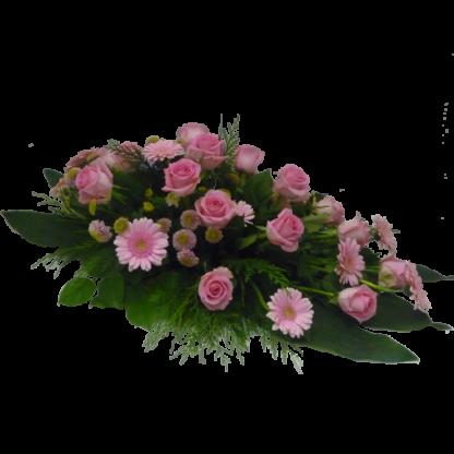 Liggande begravningsdekoration Kimsy i rosa nyanser