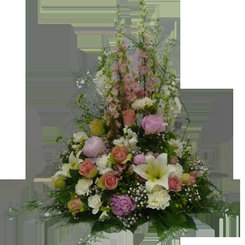 Hög dekoration Sara i vitt och rosa