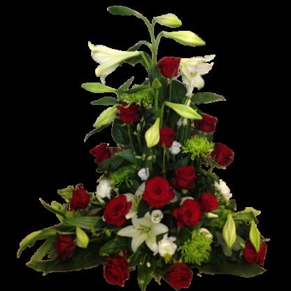 Begravningsdekoration-Kermit i rött och vitt