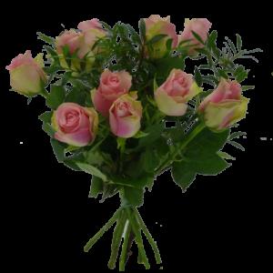 Rosa rosor med grönt