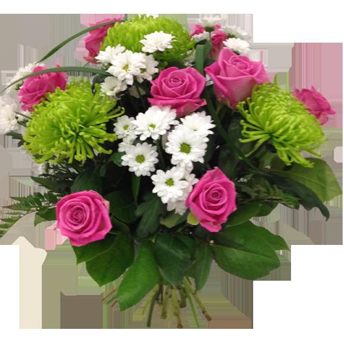 glad-rosa-vit-grönn-bukett