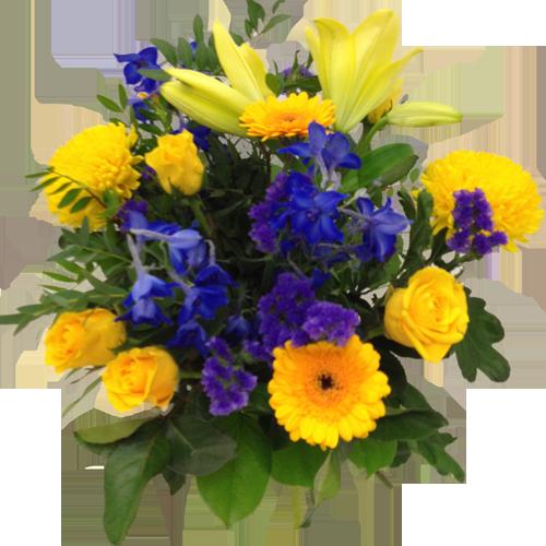 söt-gul-blå-bukett
