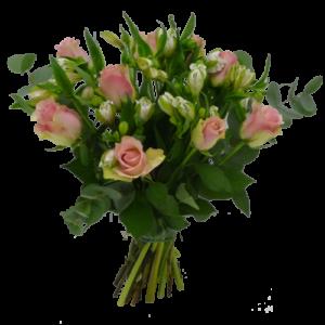 Bukett rosor och alstromeria