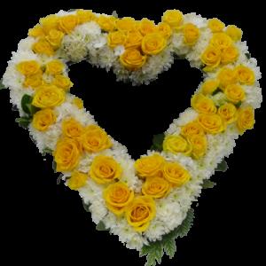 Elegant gul vit begravningshjärta