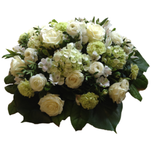 Elegant vit liggande begravningsdekoration