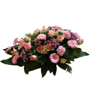 Rosa liggande begravningsdekoration