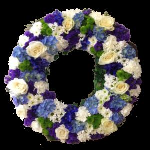 Stilig vit-blå begravningskrans