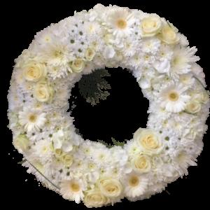 Elegant vit begravningskrans