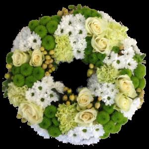 Elegant grön-vit begravningskrans