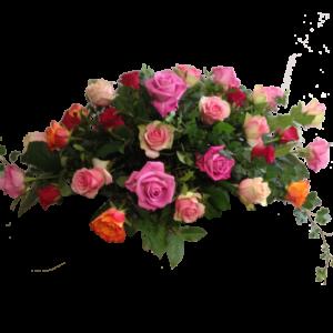 Ligande sorgdekoration med mix rosor