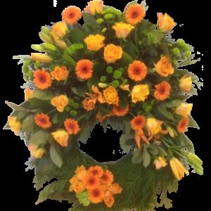 Lysande orange begravningskrans