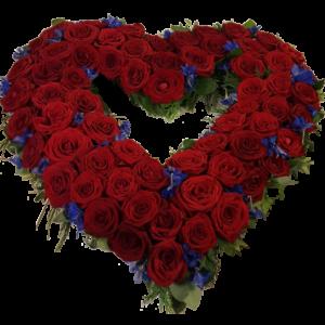 Röd blå begravningshjärta
