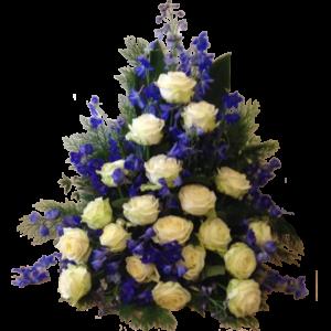 Elegant vit och blå sorgdekoration