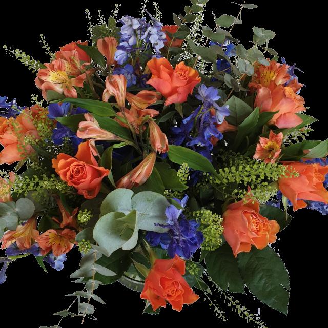 elegant-bukett-orange-blått