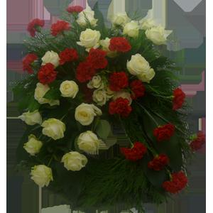 Elegan vit och röd begravningskrans