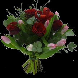 Eleganta röda rosor och tulpaner