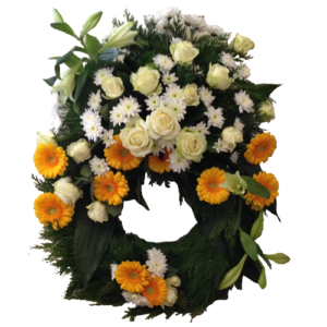 Vacker vit och gul begravningskrans